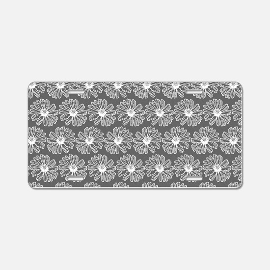 Gray and White Gerbara Dais Aluminum License Plate