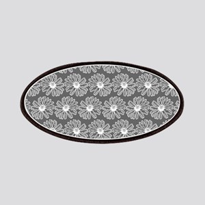 Gray and White Gerbara Daisy Pattern Patches