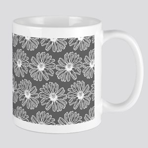 Gray and White Gerbara Daisy Pattern Mug