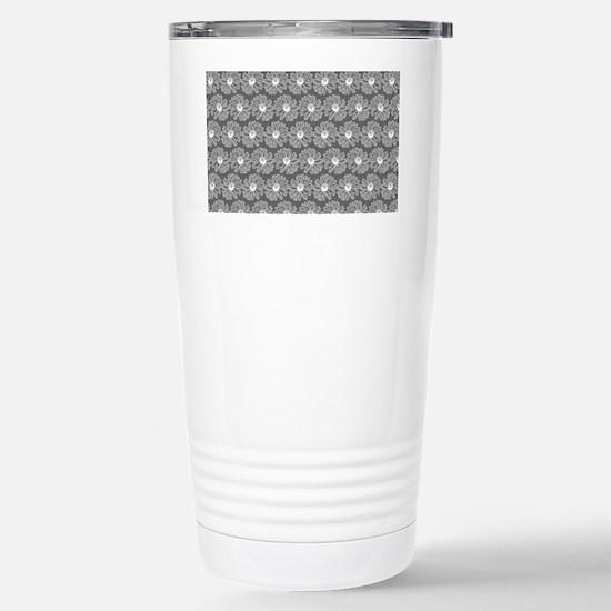 Gray and White Gerbara Stainless Steel Travel Mug