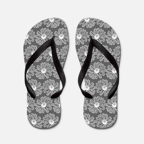 Gray and White Gerbara Daisy Pattern Flip Flops