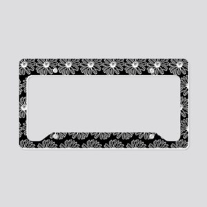 Black and White Gerbara Daisy License Plate Holder
