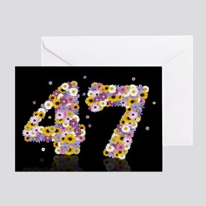 47th birthday card with flowery letters Greeting C