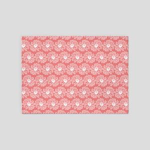 Light Coral Gerbara Daisy Pattern 5'x7'Area Rug