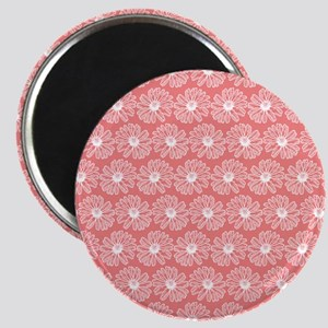 Light Coral Gerbara Daisy Pattern Magnet