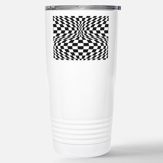 Op Art Checks Stainless Steel Travel Mug