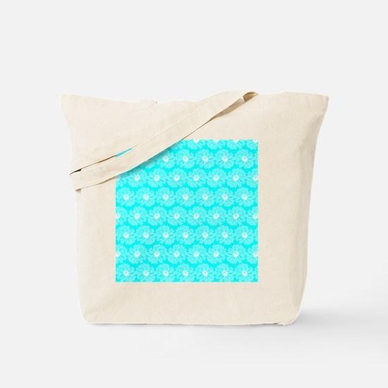 Aqua and White Gerbara Daisy Pattern Tote Bag