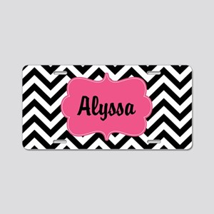 Black Pink Chevron Personalized Aluminum License P