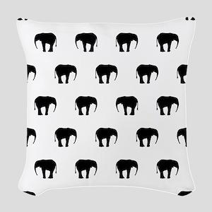 Black And White Elephants Woven Throw Pillow