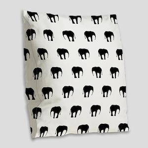 Black And White Elephants Burlap Throw Pillow