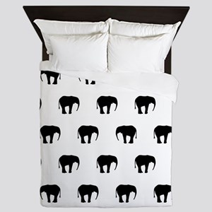 Black And White Elephants, Queen Duvet