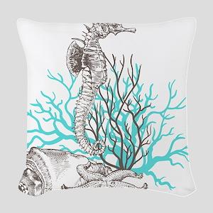 Aqua Under the Sea Woven Throw Pillow