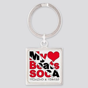 My Heart Beats Soca Square Keychain