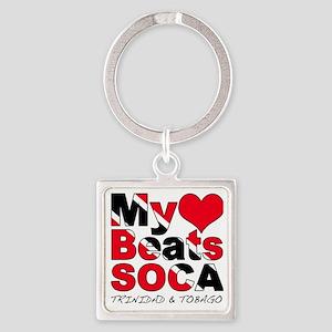 My Heart Beats Soca Square Keychain