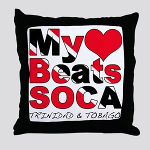 My Heart Beats Soca Throw Pillow