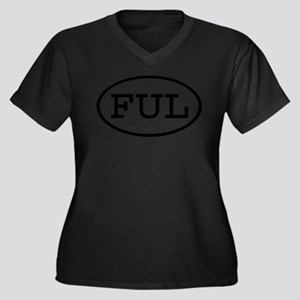 FUL Oval Women's Plus Size V-Neck Dark T-Shirt