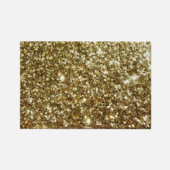Realistic Gold Sparkle Glitter Rectangle Magnet