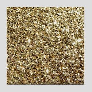 Realistic Gold Sparkle Glitter Tile Coaster