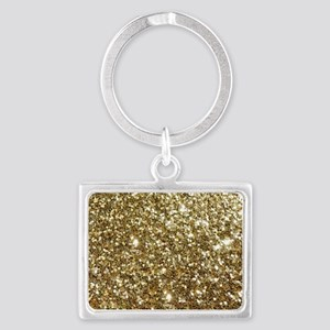 Realistic Gold Sparkle Glitter Landscape Keychain