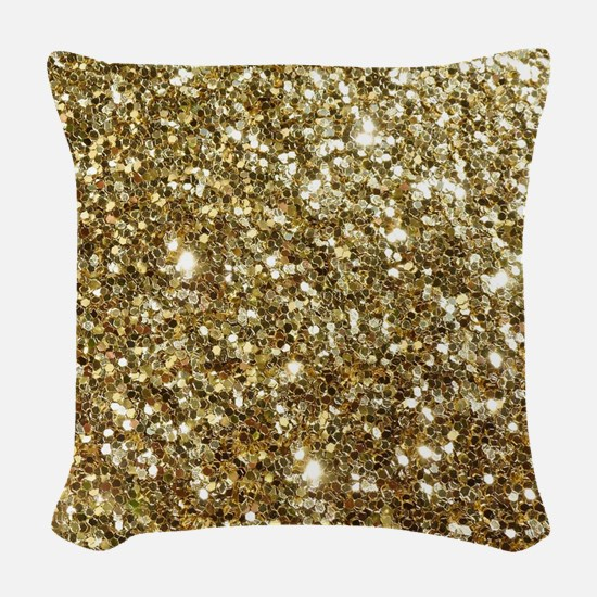 Realistic Gold Sparkle Glitter Woven Throw Pillow
