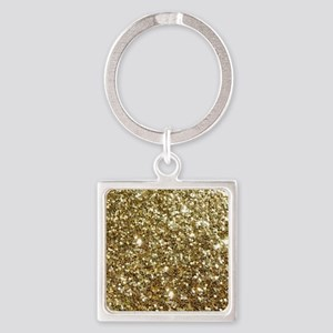 Realistic Gold Sparkle Glitter Square Keychain