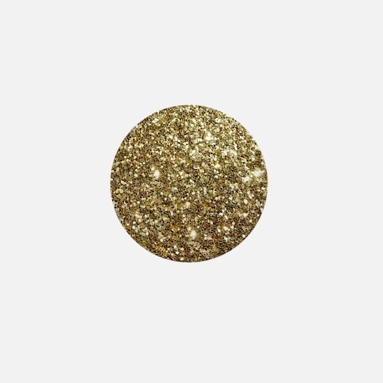 Realistic Gold Sparkle Glitter Mini Button