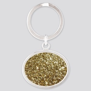 Realistic Gold Sparkle Glitter Oval Keychain
