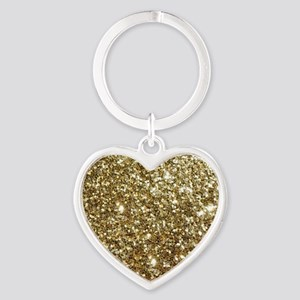 Realistic Gold Sparkle Glitter Heart Keychain