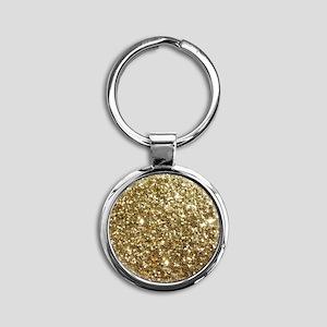 Realistic Gold Sparkle Glitter Round Keychain