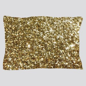 Realistic Gold Sparkle Glitter Pillow Case