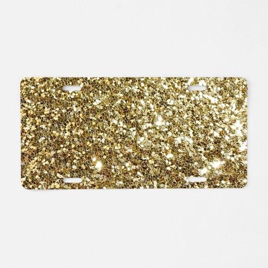 Realistic Gold Sparkle Glit Aluminum License Plate