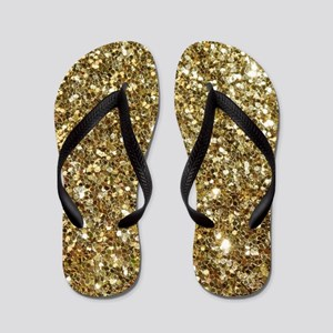 Realistic Gold Sparkle Glitter Flip Flops