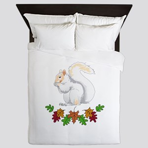 SQUIRREL AND FALL LEAVES Queen Duvet