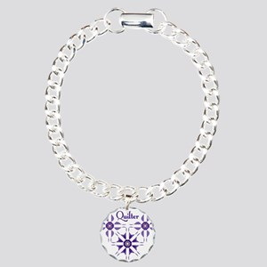 Quilted Violet Charm Bracelet, One Charm
