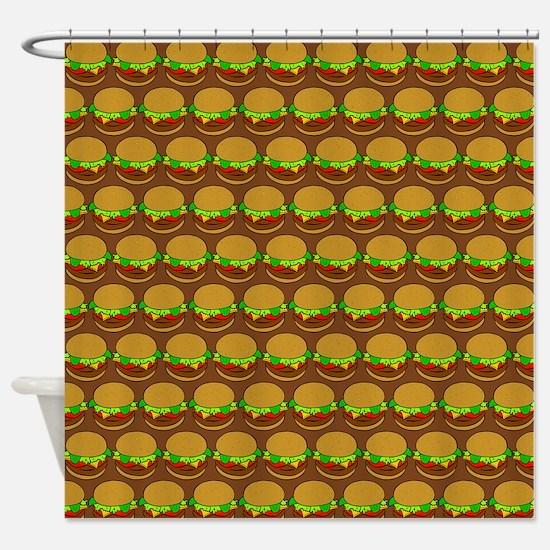 Fun Yummy Hamburger Pattern Shower Curtain