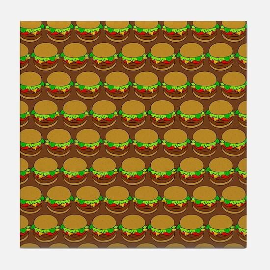 Fun Yummy Hamburger Pattern Tile Coaster