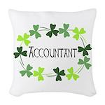 Accountant Shamrock Oval Woven Throw Pillow