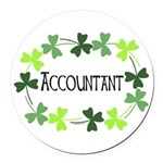 Accountant Shamrock Oval Round Car Magnet