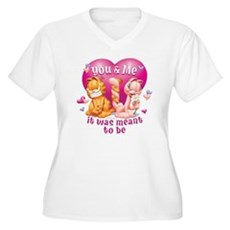 You and Me Women's Plus Size V-Neck T-Shirt