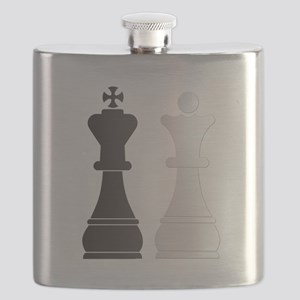 Black king white queen chess pieces Flask
