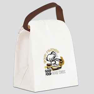 GOOD FRIENDS FOOD AND TIME Canvas Lunch Bag