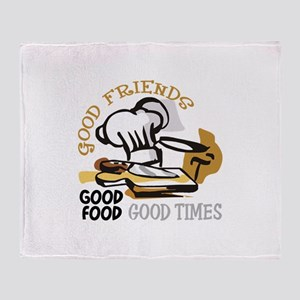 GOOD FRIENDS FOOD AND TIME Throw Blanket