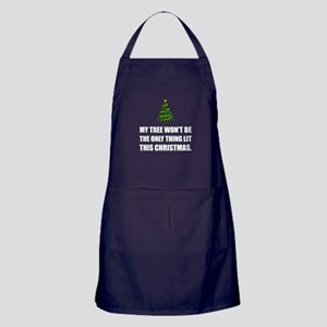 Christmas Tree Only Thing Lit Apron (dark)
