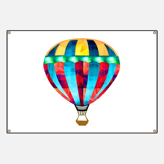 Hot Air Balloon in Red, Gold, Green and Blu Banner