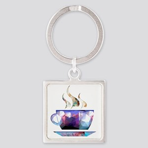Mosaic Polygon Colorful Cup of Cocoa Keychains