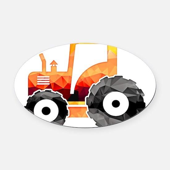 Polygon Mosaic Orange Tractor Oval Car Magnet