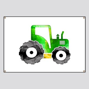 Polygon Mosaic Green Yellow Tractor Banner