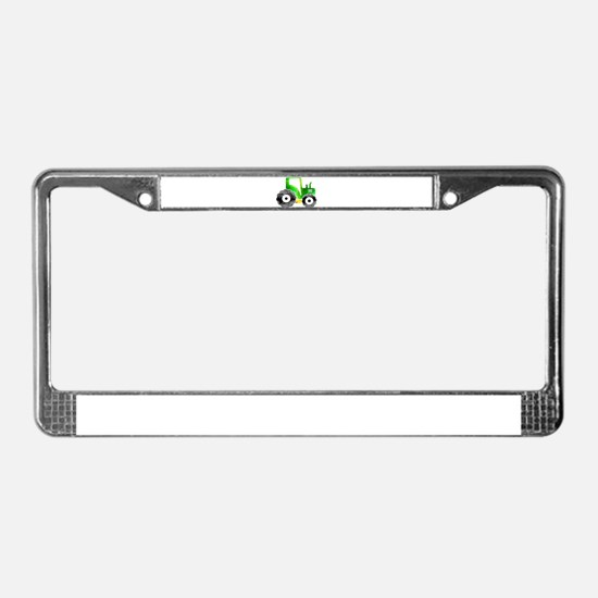 Polygon Mosaic Green Yellow T License Plate Frame