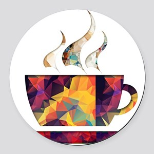 Colorful Cup of Coffee copy Round Car Magnet