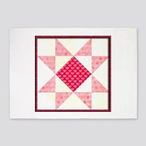 Hearts of Love Quilt Square Red 5'x7'Area Rug